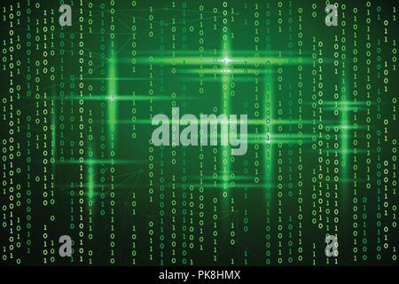 Abstract matrix background. Vector illustration. Binary code green. Virtual technologies - Stock Photo