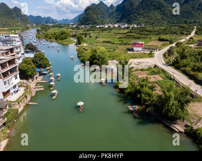 Aerial view of a beautiful day at Yangshuo Lijiang River where many tourists come for the idyllic scenery. - Stock Photo