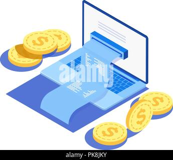 Concept of electronic bill and online bank, laptop with check tape. Payment by means of the payments electronic online, smartphone. - Stock Photo