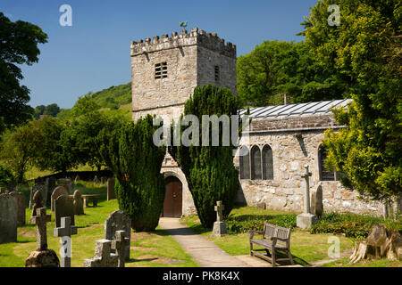 UK, Yorkshire, Wharfedale, Hubberholme, Church of St Michael and All Angels, burial place of author J B Priestley - Stock Photo