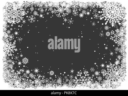 Christmas background with frame of snowflakes - Stock Photo