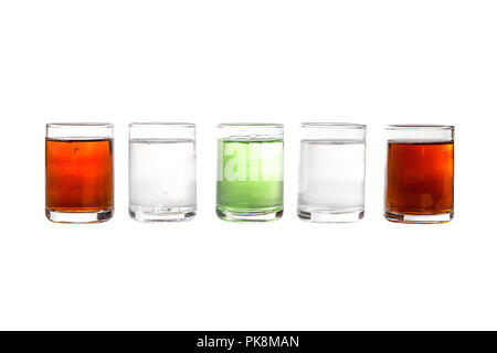 Multicolored transparent cocktails, a set of shots in one row, five servings. Side view Isolated white background. Drink for the menu restaurant, bar, - Stock Photo