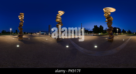 Bronze sculptures in front of the Olympic Stadium - Stock Photo
