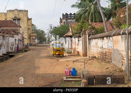 Kanadukathan, India - March 12, 2018: Street scene in the Chettinad area. The standpipe attests to the fact that many homes do not have a water supply - Stock Photo