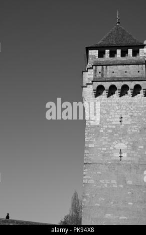One of the watchtowers on the medieval bridge, Pont Valentré, Cahors, Lot, Occitanie, France, Europe - Stock Photo