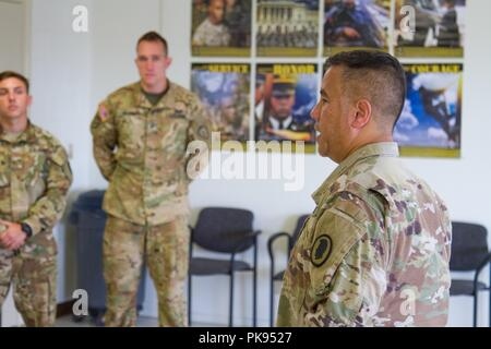 Brig. Gen. Kenneth Hara, Deputy Adjutant General, Hawaii Army National Guard and Joint Task Force 5-0 commander, lands at Hilo International Airport, Hilo, Hawaii, to conduct briefings to Hawaii National Guard and Active Duty Soldiers responding to Hurricane Lane on Aug. 27, 2018, August 27, 2018. Local authorities and the state of Hawaii, through JTF 5-0, requested HH-60M Black Hawk helicopters with hoist capability to assist local authorities with recovery operations on the Isle of Hawaii. JTF 5-0 is a joint task force led by a dual status commander that is established to respond to the effe - Stock Photo