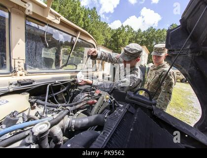 South Carolina National Guard Soldiers from Bravo Company, 1-118 Infantry, preform preventative maintenance checks to unit vehicles in preparation to support partnered civilian agencies and safeguard the citizens of the state in advance of Hurricane Florence, September 10, 2018, September 10, 2018. Approximately 1600 Soldiers and Airmen have been mobilized to prepare, respond and participate in recovery efforts as forecasters project Hurricane Florence will increase in strength with potential to be a Category 4 storm and a projected path to make landfall near the Carolinas and east coast. (U.S - Stock Photo