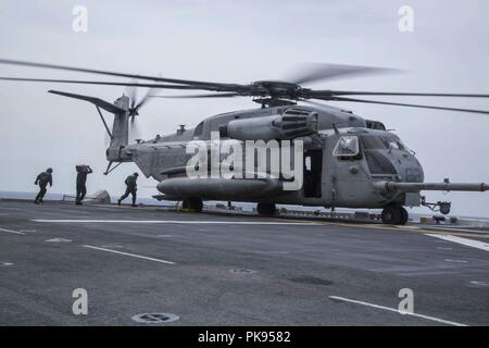 MINDANAO SEA - U.S. Sailors with the Essex Amphibious Ready Group (ARG) prepare a CH-53E Super Stallion with Marine Medium Tiltrotor Squadron 166 Reinforced, 13th Marine Expeditionary Unit (MEU), for takeoff during a search and rescue operation during a regularly scheduled deployment of the Essex ARG and 13th MEU, August 11, 2018, August 11, 2018. The Essex ARG/13th MEU is currently deployed to the 7th fleet area of operations. (U. S. Marine Corps photo by Cpl. Francisco J. Diaz Jr.). () - Stock Photo