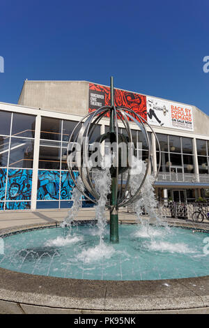 Close-up of modern metal fountain in the Queen Elizabeth Theatre Plaza, Vancouver, BC, Canada - Stock Photo