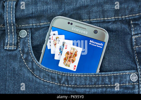 MONTREAL, CANADA - SEPTEMBER 8, 2018: Microsoft Casual Games app on android device. - Stock Photo
