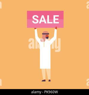 arabic businessman holding sale sign concept rectangular board advertising arab cartoon character flat full length - Stock Photo