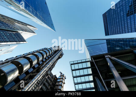 Lloyd's building, 122 Leadenhall Street The Cheesegrater, St. Helen's skyscraper, The Willis Building and The Scalpel, Skyscrapers in London, UK - Stock Photo