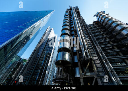 Lloyd's building, The Willis Building and The Scalpel skyscraper, Commercial skyscrapers in London, England UK - Stock Photo