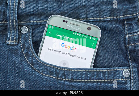 MONTREAL, CANADA - SEPTEMBER 8, 2018: Google sign-in page on android device. - Stock Photo