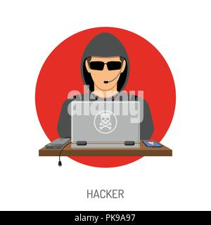 Cyber Crime with Hacker Avatar - Stock Photo