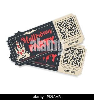 Happy Halloween Party Tickets - Stock Photo