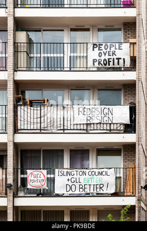 Residents of Burnhill House are protesting against the redevelopment of the adjacent area around St Luke's Gardens & Finsbury Leisure Centre. - Stock Photo
