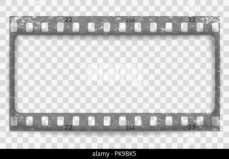 Gray scratched grunge film strip with shadow on squared background. Vector. - Stock Photo