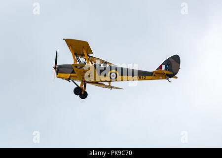 The De Havilland DH82 Tiger Moth, a safe, reliable and cheap biplane for training pilots for World War Two - Stock Photo