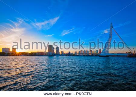 Erasmus Bridge on sunset, Rotterdam, Netherlands - Stock Photo