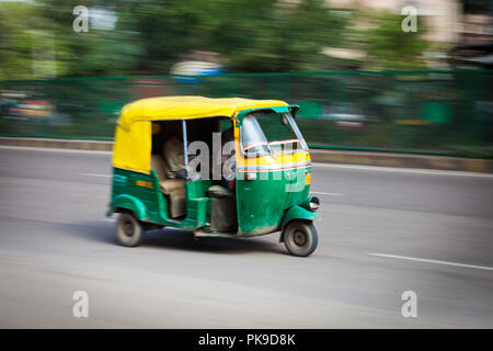 Indian auto (autorickshaw) in the street. Delhi, India  - Stock Photo
