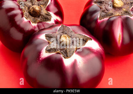 round mauve eggplant on red background - Stock Photo