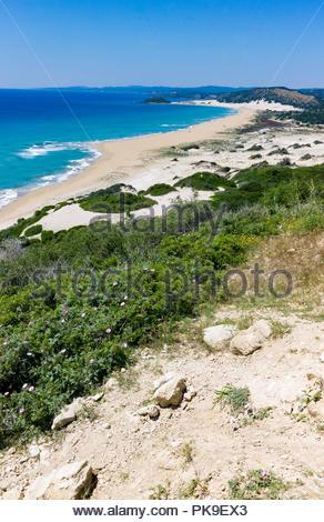Sandy shoreline with dunes on the Karpasian Peninsula, Northern Cyprus - Stock Photo