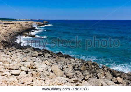 Rocky seashore on the Karpas Peninsula, northern Cyprus - Stock Photo