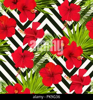 Hibiscus flower vector seamless pattern on a abstract chevron background flowered tropical texture - Stock Photo