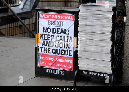 Evening Standard newspaper headline on poster 'Brexit - NO DEAL KEEP CALM AND JOIN THE QUEUE'   23 August 2018 in London, England UK - Stock Photo