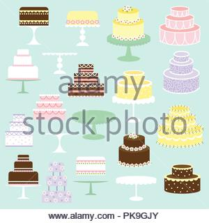 hand drawn pastel vector wedding and birthday cake illustrations - Stock Photo
