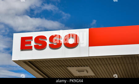Loten, Norway - ESSO gasoline station. ESSO is a trading name for ExxonMobil and its related companies. - Stock Photo