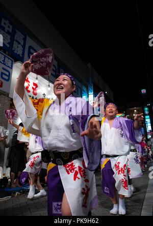Japanese women during the Koenji Awaodori dance summer street festival, Kanto region, Tokyo, Japan - Stock Photo