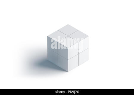 Blank White Rubics Cube Mock Up Isolated 3d Rendering Empty Rubik