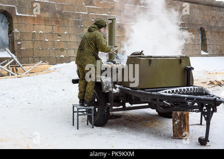Saint Petersburg. Russia - January 12, 2018: Military field kitchen in winter on Epiphany day - Stock Photo