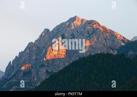 Dolomite peak at sunset near San Vigilio di Marebbe, Italy - Stock Photo