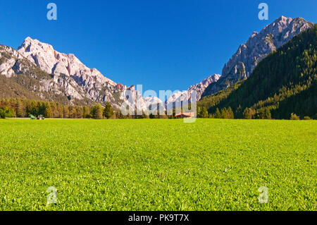 View across field to Dolomite peaks of Fanes Senes Braies Nature Park from outskirts of San Vigilio di Marebbe, Italy - Stock Photo