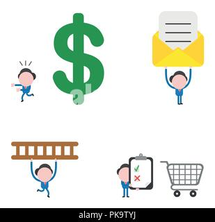 Vector illustration set of businessman mascot character running away from big dollar, holding up envelope with paper, carrying ladder and holding clip - Stock Photo