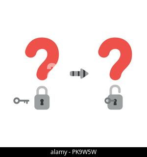 Vector illustration icon concept of question marks with closed and opened padlocks with key. - Stock Photo
