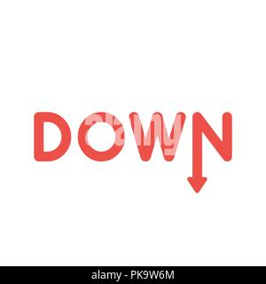 Vector illustration icon concept of down word with arrow moving down. - Stock Photo