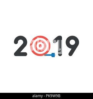 vector illustration icon concept of year of 2019 with bulls eye and dart miss the target