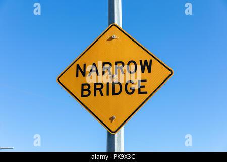 Narrow Bridge, sign; Santa Clara County, California, USA - Stock Photo