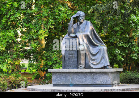 A monument of the Polish poet, Juliusz Slowacki  in Wroclaw park (Polish Romantic poet.1809-1849). Poland August 2018. - Stock Photo