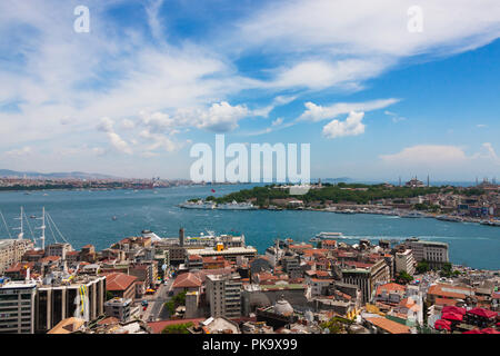 View of buildings and harbor on the Bosphorus, Golden Horn, Istanbul, Turkey - Stock Photo
