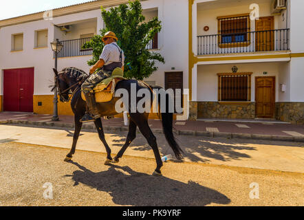 Fuente de Piedra/Spain - 08/20/18 - A man travelling through an Andalucian village - Stock Photo