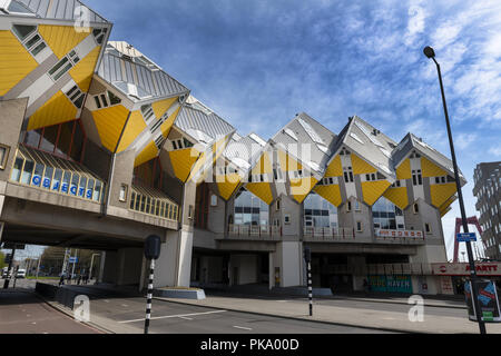 Innovative houses built in Rotterdam in the Netherlands, designed by architect Piet Blom and based on the concept of 'living as an urban roof - Stock Photo