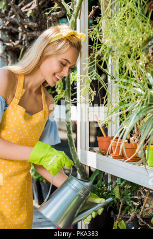 smiling young blonde woman in rubber gloves watering green plants in greenhouse - Stock Photo
