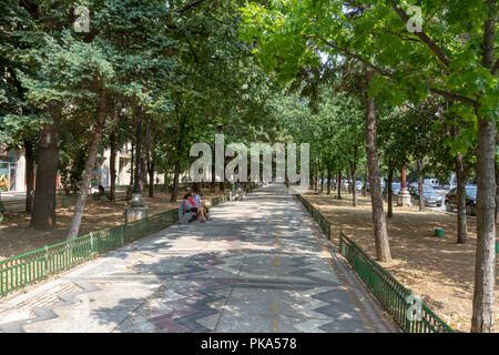 Path along Bulevardul Unirii (Union Boulevard) in Bucharest, Romania. - Stock Photo