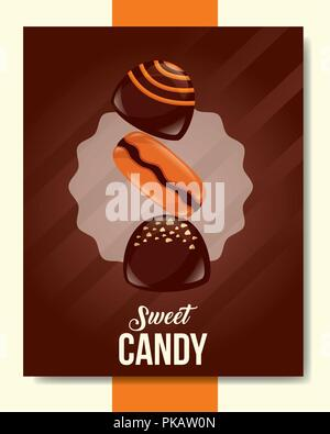 sweet candy frame sticker macarons stuffed chocolate vector illustration - Stock Photo
