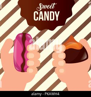 sweet candy hands holding stuffed macarons sticker sign vector illustration - Stock Photo
